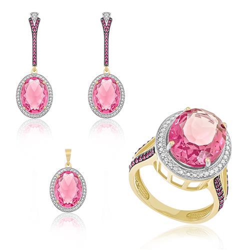 Conjunto Anel, Par de Brincos e Pingente Com Cristal Turmalina Rosa e 5 Diamantes