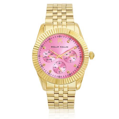 Relógio Feminino Phillip Kollin Bali Gold Pink ZY28065M Dourado 31422dc6e6
