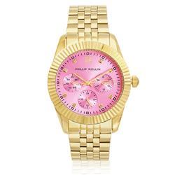 Relógio Feminino Phillip Kollin Bali Gold Pink ZY28065M Dourado