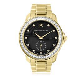 Relógio Feminino Phillip Kollin Malta Gold Black ZY28047U Dourado