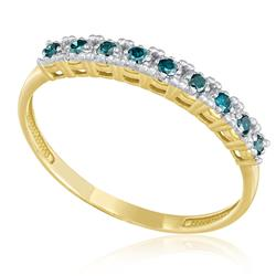 Meia Aliança com 9 Diamantes Azuis totalizando 20 pts., em Ouro Amarelo