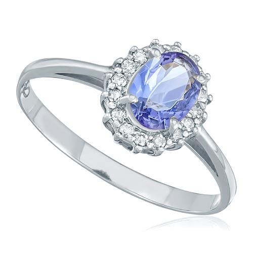 Anel com 16 Diamantes e Tanzanita de 73 pts., em Ouro Branco