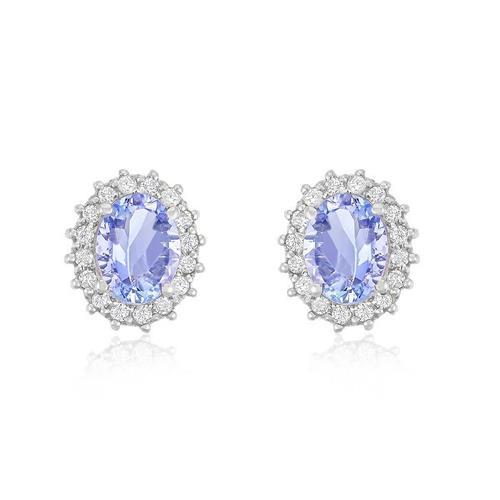 Par de Brincos com 32 Diamantes e Tanzanitas totalizando de 1,46 Cts., em Ouro Branco