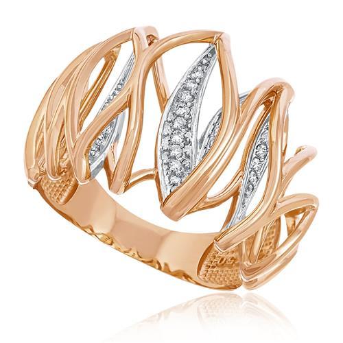 Anel Trabalhado com Diamantes totalizando 50 pts, em Ouro Rose