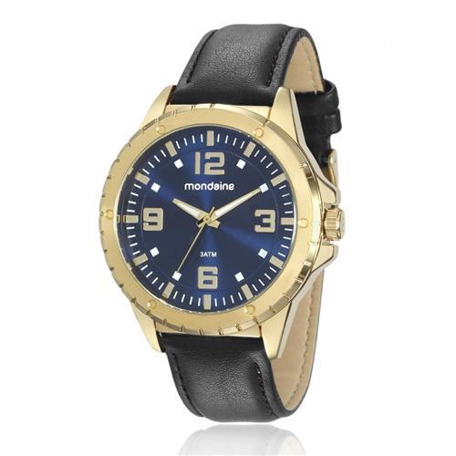Relógio Masculino Mondaine Analógico 76675GPMVDH2 Dourado em couro