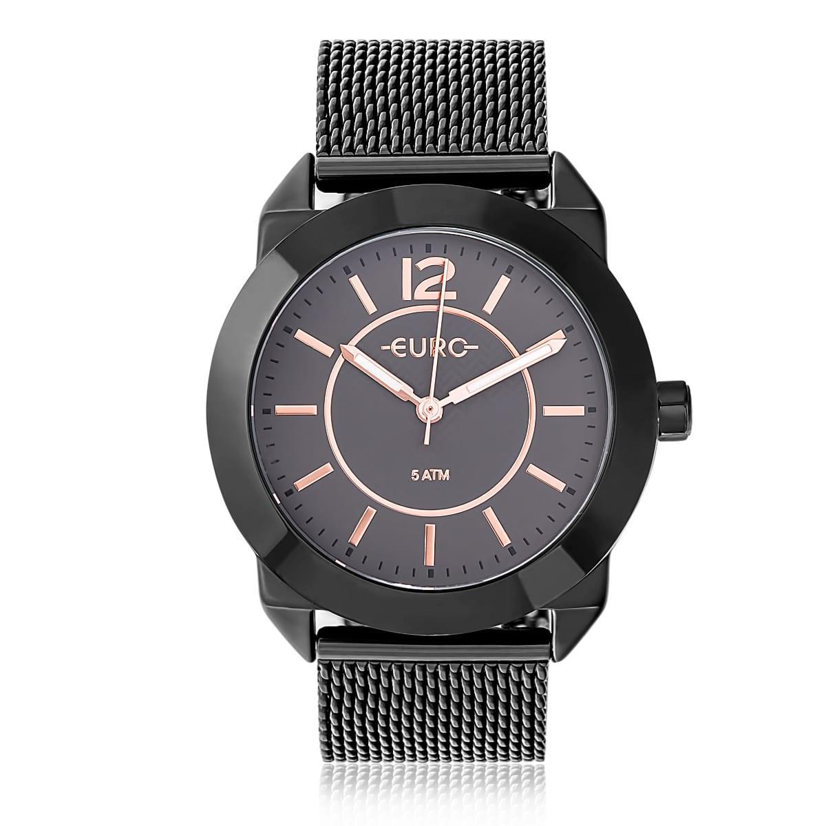 7fc1b6170fa Relógio Feminino Euro Geometric Power Analógico EU2036YLU 4P Preto