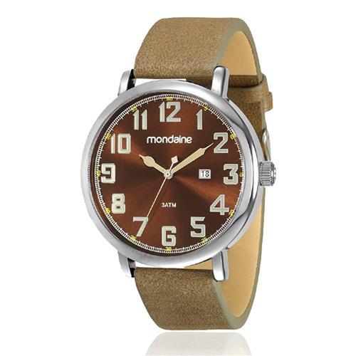 86a6c4c0b627c Relógio Masculino Mondaine Analógico 83354G0MVNH1 Aço pulseira em couro