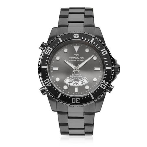 Relógio Masculino Technos Chronoalarm T205JE/4P Aço Negro