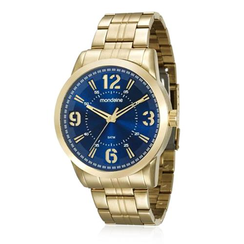 4f714d86c5c Relógio Masculino Mondaine Analógico 99087GPMVDE1 Dourado fundo azul