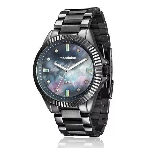 db3c59fac27 Relógio Feminino Mondaine Analógico 76642LPMVSE4 Aço negro