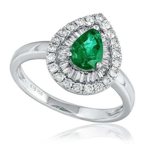 Anel com Diamantes totalizando 1,0 Ct. e Esmeralda de 1,30 Cts., em Ouro  Branco c1c0fb7bc0