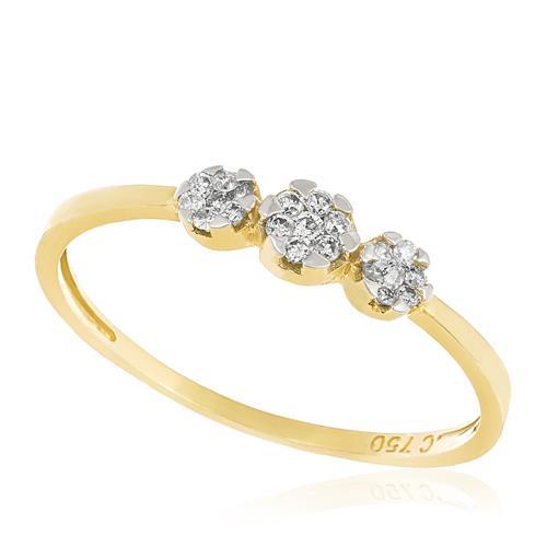 Anel com Diamantes totalizando 20 pts., em Ouro Amarelo