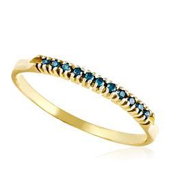 Meia Aliança com 11 Diamantes Azuis Totalizando 15 Pts., em Ouro Amarelo
