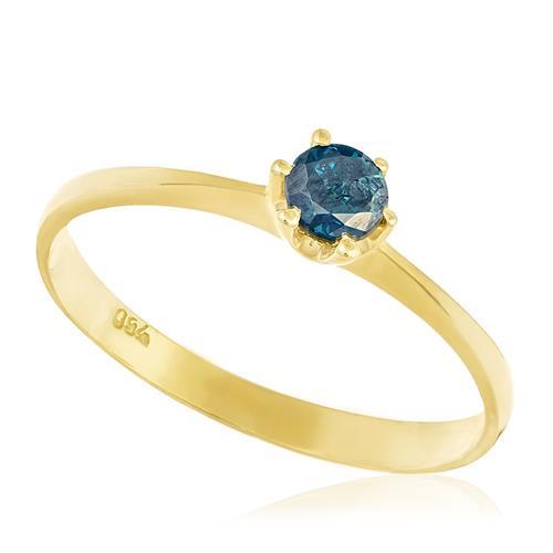 Anel Solitário com Diamante Azul de 30 pts., em Ouro Amarelo