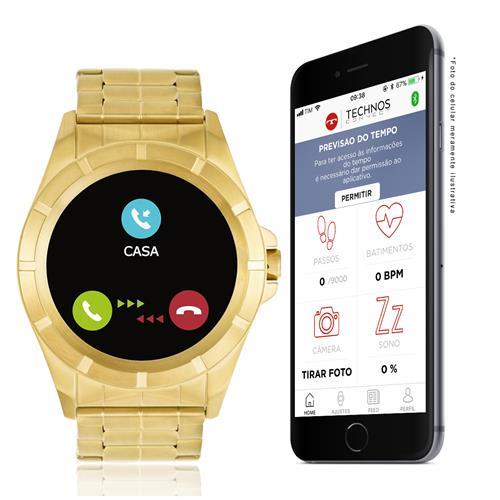 Smartwatch Technos Masculino Connect Dourado SRAB 4P Dourado 8b89fe4c68