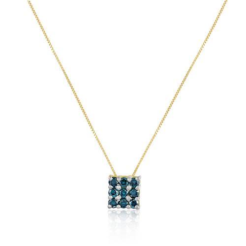 Pingente com 9 Diamantes Azuis totalizando 50 pts., em Ouro Amarelo
