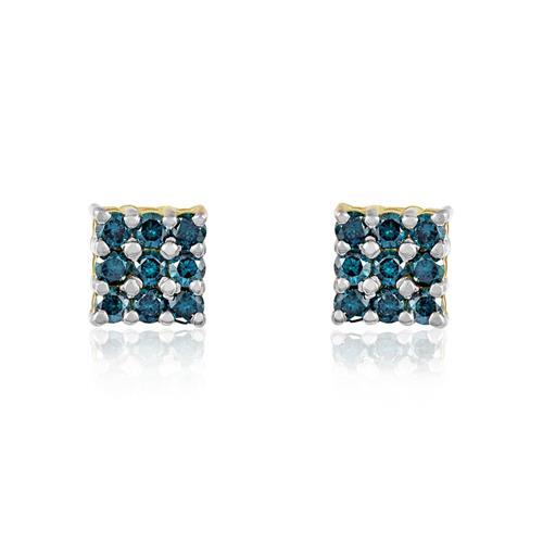 Par de Brincos com 18 Diamantes Azuis totalizando 1,0 Cts., em Ouro Amarelo