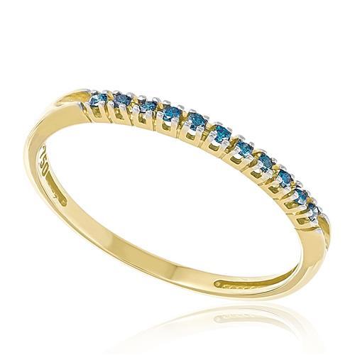 Meia Aliança com 11 Diamantes Azuis, em Ouro Amarelo