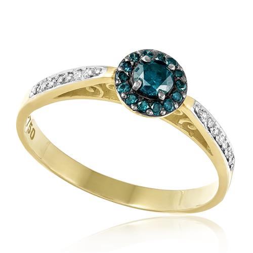 Anel com  14 Diamantes e Diamantes Azuis totalizando 50 pts., em Ouro Amarelo