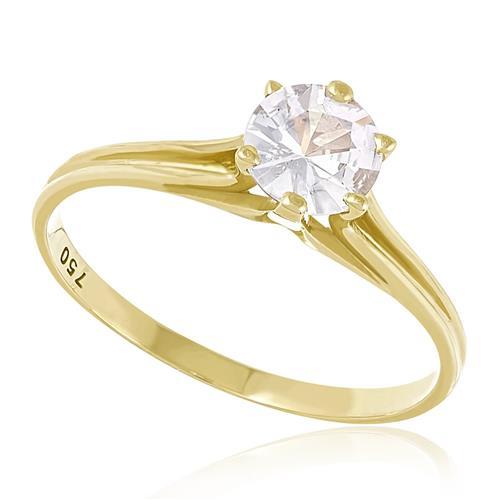 17d6b676bb9a8 Anel de Ouro Solitário com Safira Branca de 1,0 Ct   Joias Vip