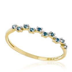 Meia Aliança com 10 Diamantes Azuis, em Ouro Amarelo