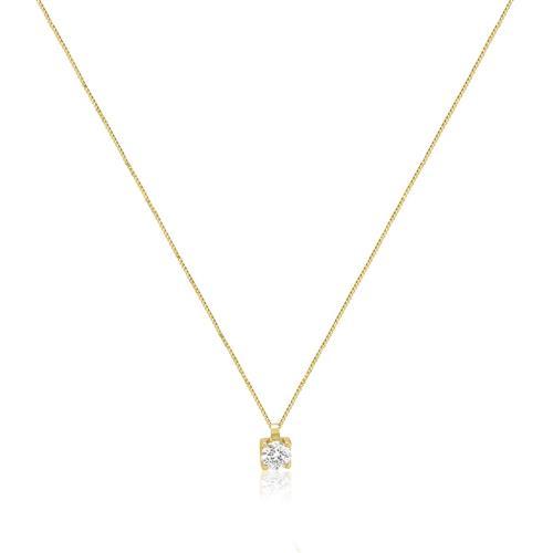 Ponto de Luz com Diamante de15 Pts.,  e Corrente em Ouro Amarelo