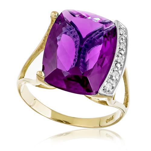 Anel com 5 Diamantes e Ametista, em Ouro Amarelo