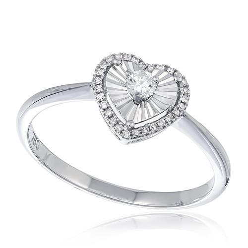 Anel Coração com Diamantes totalizando 25 pts., em Ouro Branco