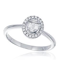 Anel com Diamantes totalizando 40 pts., em Ouro Branco