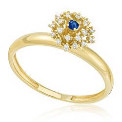 Anel com Safira e 5 Pts em Diamantes, em Ouro Amarelo