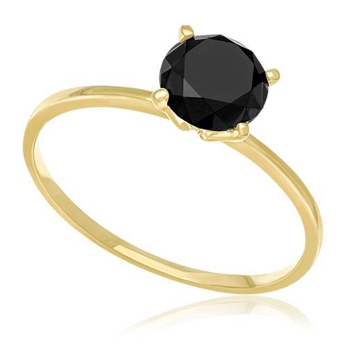 Anel Solitário com Diamantes Negro de 1,2 Cts. em Ouro Amarelo