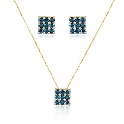 Conjunto Par de Brincos e Pingente com 27 Diamantes Azuis totalizando 1,50 Cts., em Ouro Amarelo