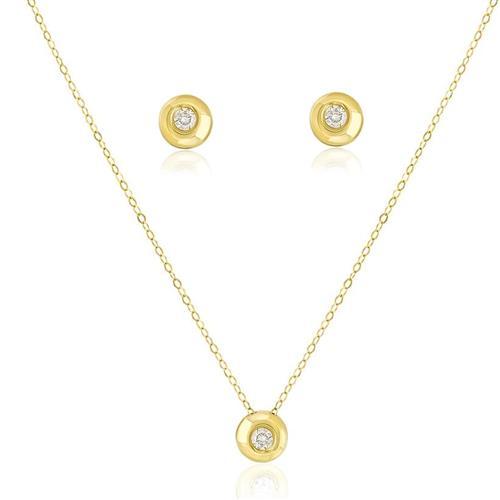 Conjunto par de brincos e corrente com Pingente Ponto de Luz com Diamante de 10 Pts cada em Ouro Amarelo