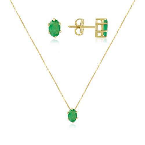 Conjunto Par de Brincos e  Pingente com Esmeralda de 1,45 Cts., em Ouro Amarelo