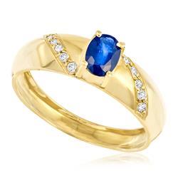 Anel com Diamantes totalizando 15 pts. e Safira de 50 pts., em Ouro Amarelo
