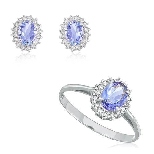 Conjunto Par de Brincos e Anel com 48 Diamantes e Tanzanita de 2,19 Cts., em Ouro Branco
