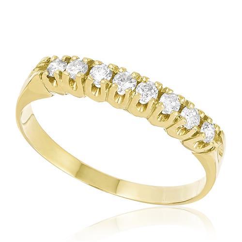 Meia Aliança com 8 Diamantes Totalizando 30 Pts, em Ouro Amarelo