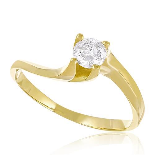 Anel de Ouro modelo Solitário com Diamante de 30 Pts