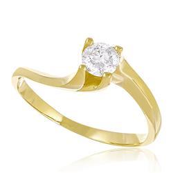 Anel Solitário com Diamante de 30 pts.., em Ouro Amarelo com Ródio