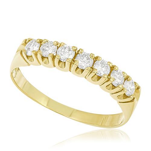 Meia Aliança com 7 Diamantes Totalizando 50 Pts, em Ouro Amarelo