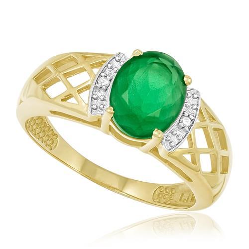 Anel com 2 Diamantes e Cristal Jade, Folheado a Ouro Amarelo
