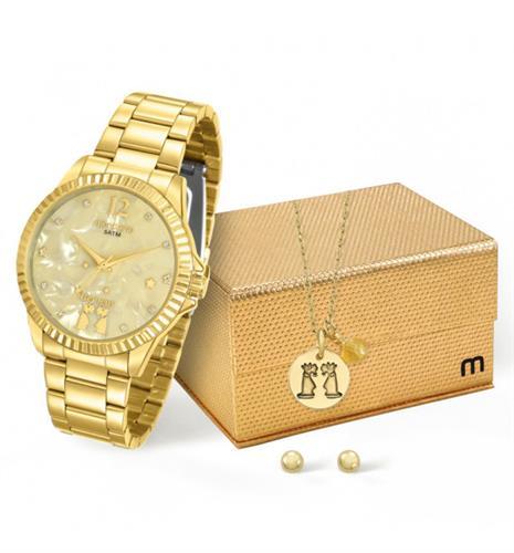 Relógio Feminino Mondaine Analógico 99128LPMKDE5K1 Dourado Gêmeos