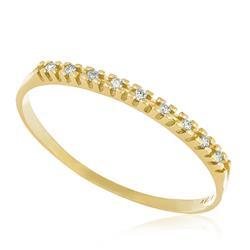 Meia Aliança 9 Diamantes, em Ouro Amarelo