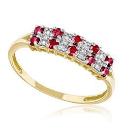 Meia Aliança Dupla com 10 Rubis e 4 Diamantes, em Ouro Amarelo