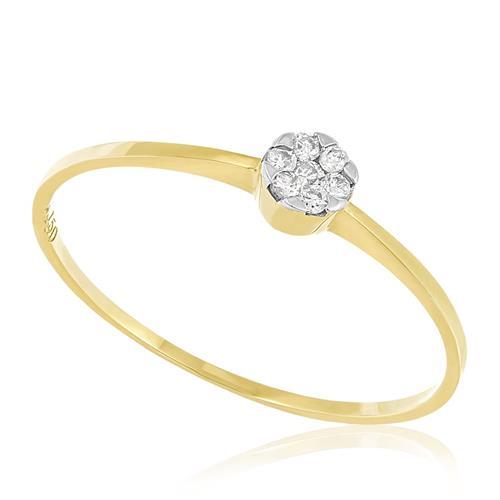 Anel Trabalhado com Diamantes totalizando 10 pts., em Ouro Amarelo
