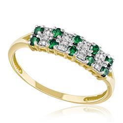 Meia Aliança Dupla com 10 Esmeraldas e 4 Diamantes, em Ouro Amarelo