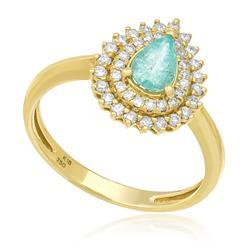 Anel com Turmalina Paraíba Gota  e 30 Diamantes, em Ouro Amarelo