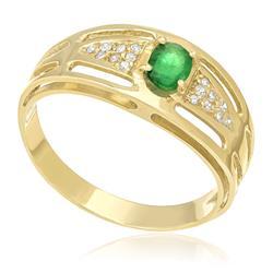 Anel com Diamantes totalizando 16 pts. e Esmeralda de 25 pts., em Ouro Amarelo