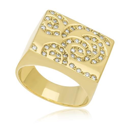 Anel com Diamantes totalizando 35 pts., em Ouro Amarelo