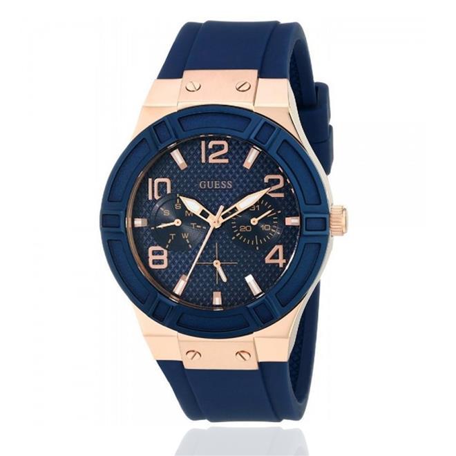 342edc43d82 Relógio Masculino Guess Analógico 92479GPGSRU6 Aço rose pulseira azul.  Ampliar
